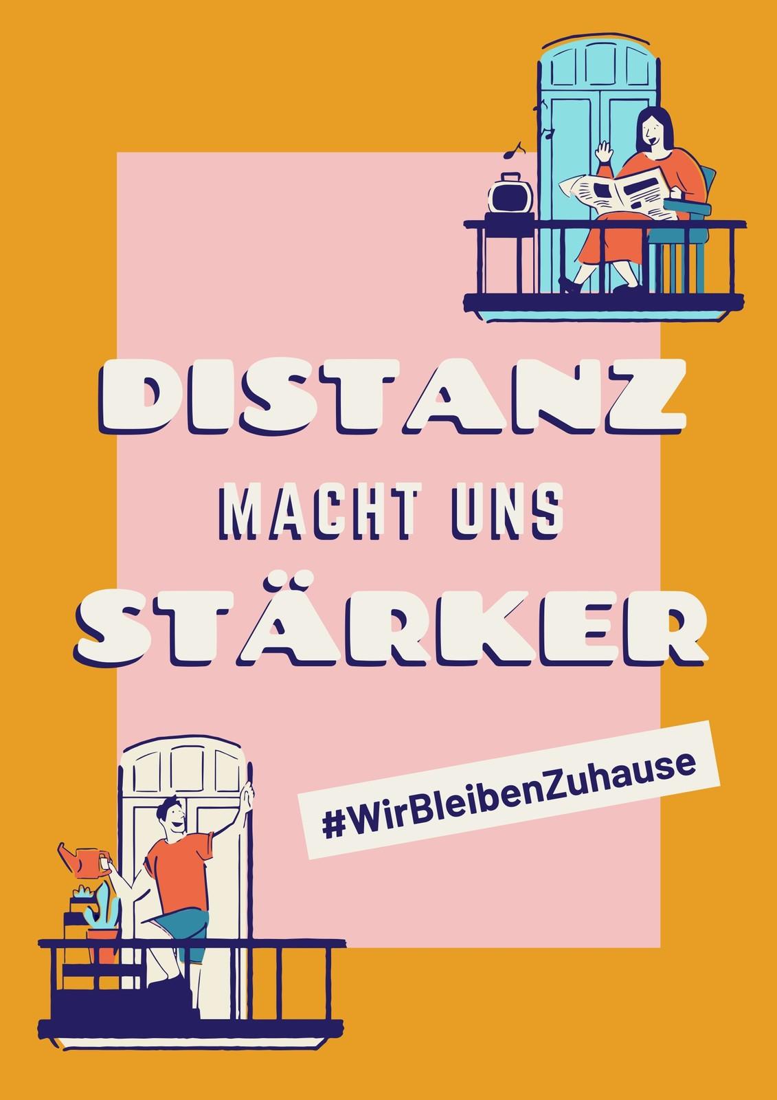 Gelb-pinkes Distanz Gesundheits-Poster