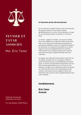Papier à en-tête pour cabinet d'avocat