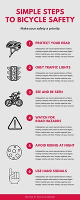 Red Gray Steps to Bicycle Safety Infographic