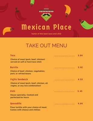 Mexican Menus