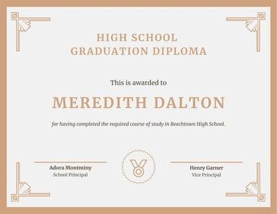 High School Diploma Certificates