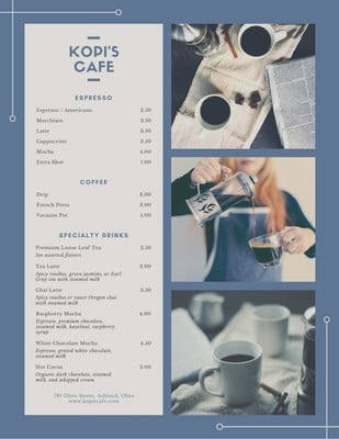 Cardápio de cafés
