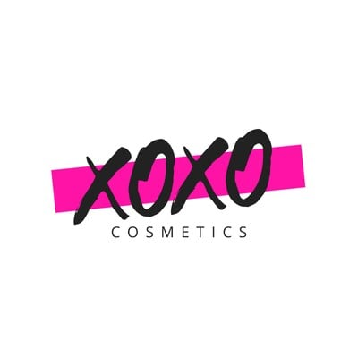 White and Pink Strikeout Cosmetics Beauty Logo