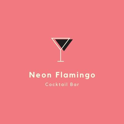 Pinkfarbenes Cocktailbar-Logo