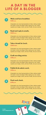 Yellow Blogger's Daily Routine Timeline Infographic