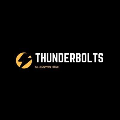 Black with Thunder Icon Basketball Logo