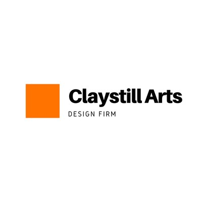 Kunst- & Design-Logo Schwarze Schrift Orangefarbenes Quadrat