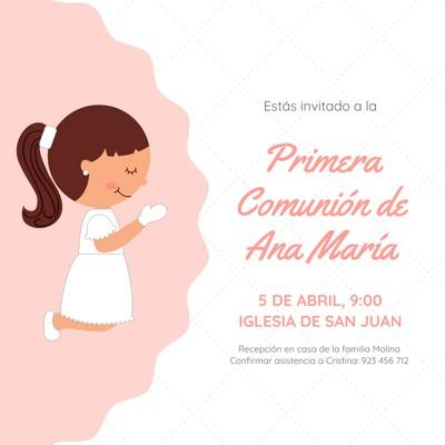 Invitación para primera comunión