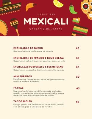 Cardápio de comida mexicana