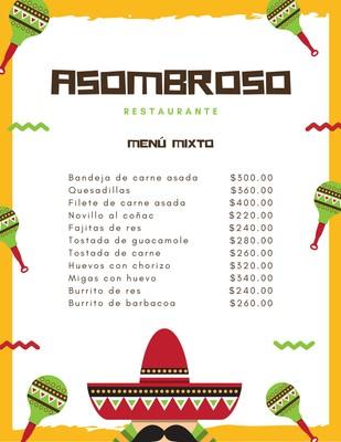 Menú mexicano