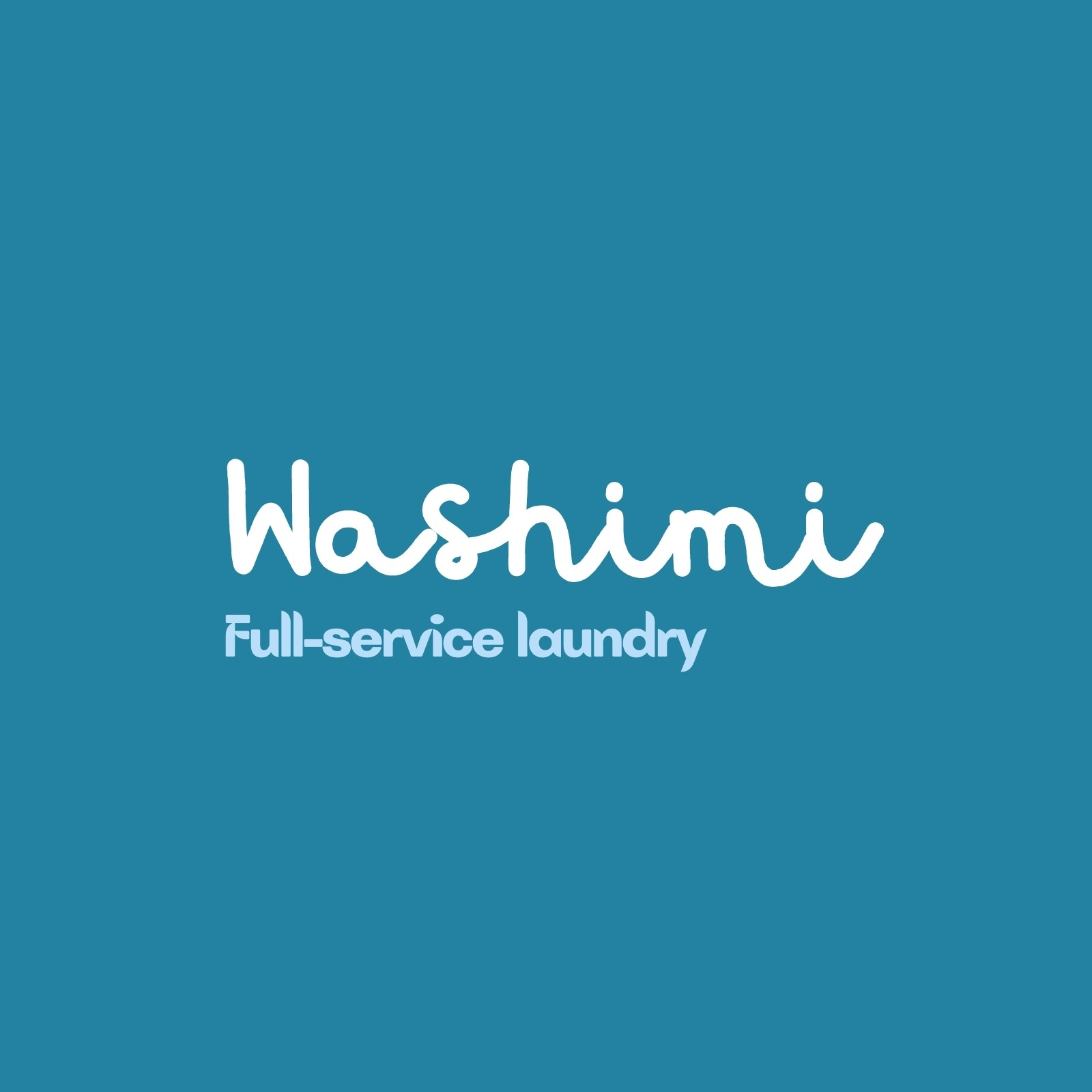Blue and White Laundry Shop Logo