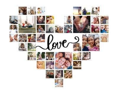Collage con fotos de familia